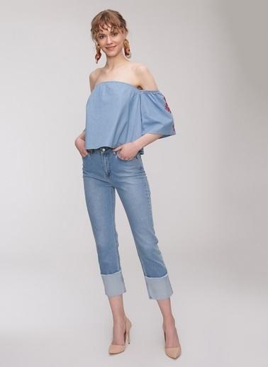People By Fabrika Nakış Detaylı Denim Bluz Mavi